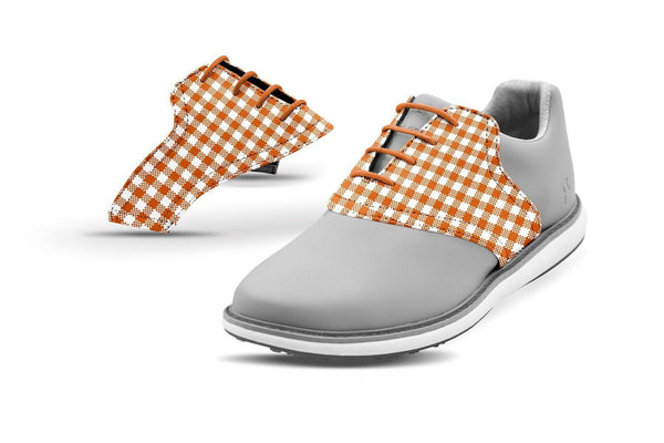 Women's Burnt Orange Gingham Saddles On Grey Golf Shoe From Jack Grace USA