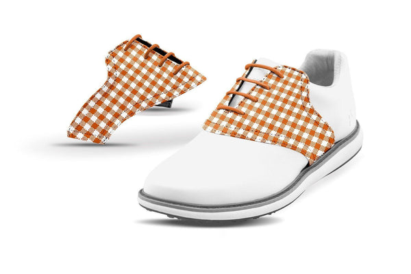 Women's Burnt Orange Gingham Saddles On White Golf Shoe From Jack Grace USA