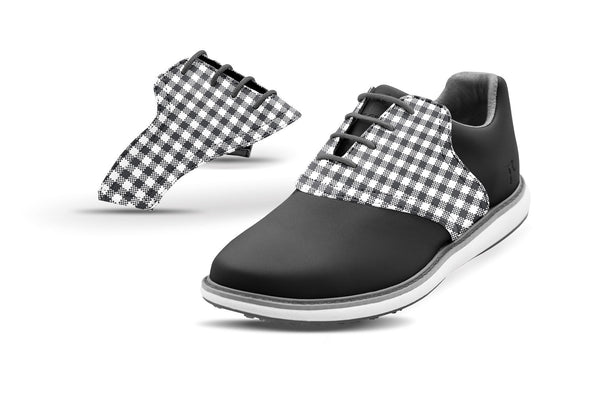 Women's Charcoal Gingham Saddles On Black Golf Shoe From Jack Grace USA