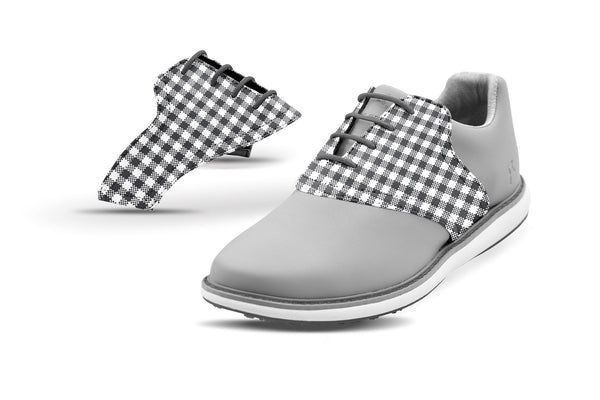 Women's Charcoal Gingham Saddles On Grey Golf Shoe From Jack Grace USA