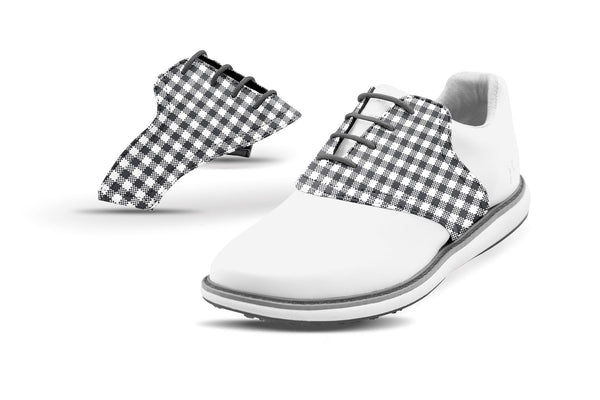 Women's Charcoal Gingham Saddles On White Golf Shoe From Jack Grace USA