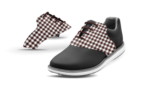 Women's Chocolate Gingham Saddles On Black Golf Shoe From Jack Grace USA