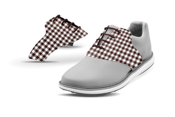 Women's Chocolate Gingham Saddles On Grey Golf Shoe From Jack Grace USA