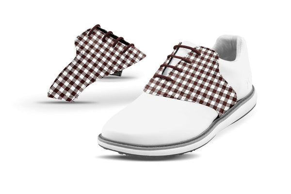 Women's Chocolate Gingham Saddles On White Golf Shoe From Jack Grace USA
