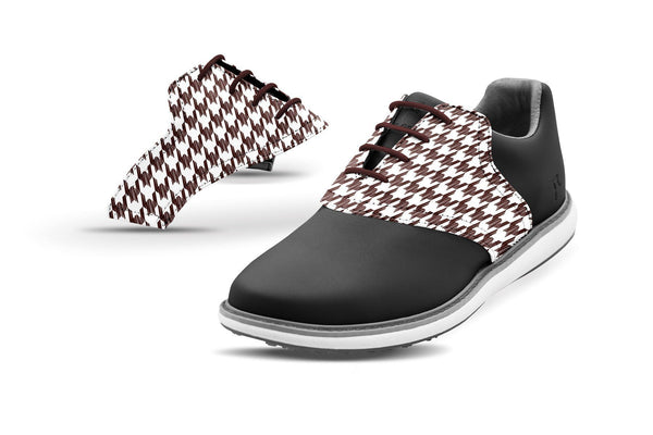 Women's Houndstooth Chocolate Saddles On Black Golf Shoe From Jack Grace USA