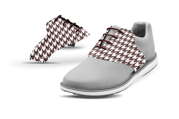 Women's Houndstooth Chocolate Saddles On Grey Golf Shoe From Jack Grace USA