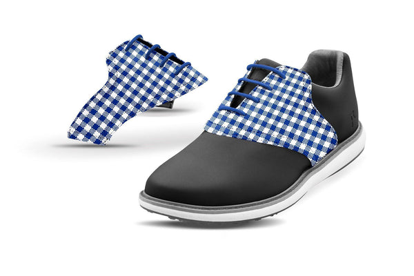 Women's Cobalt Gingham Saddles On Black Golf Shoe From Jack Grace USA
