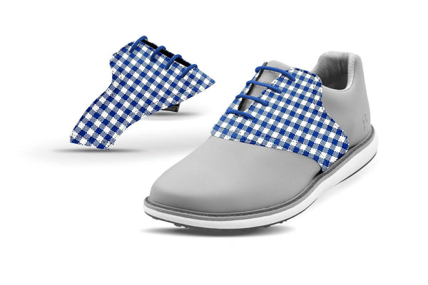 Women's Cobalt Gingham Saddles On Grey Golf Shoe From Jack Grace USA