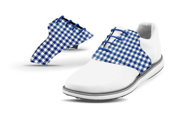 Women's Cobalt Gingham Saddles On White Golf Shoe From Jack Grace USA