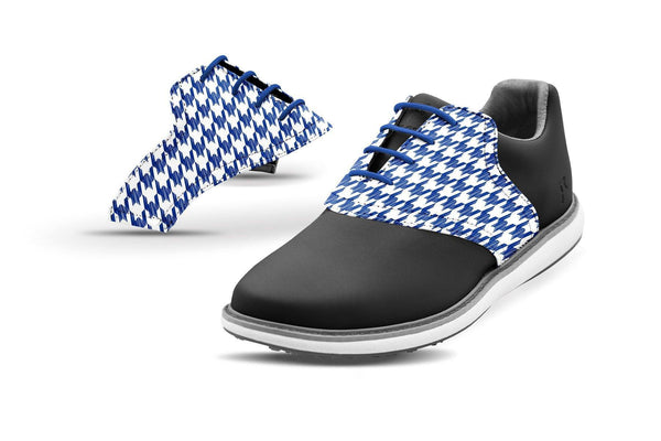 Women's Houndstooth Cobalt Saddles On Black Golf Shoe From Jack Grace USA