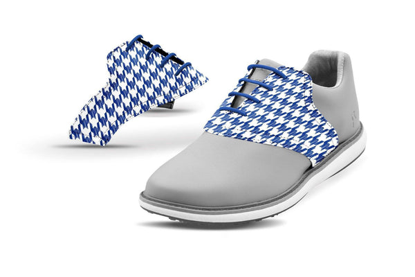 Women's Houndstooth Cobalt Saddles On Grey Golf Shoe From Jack Grace USA