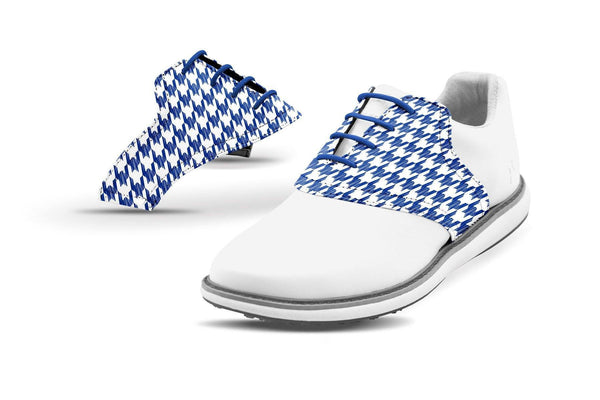Women's Houndstooth Cobalt Saddles On White Golf Shoe From Jack Grace USA