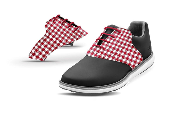 Women's Crimson Gingham Saddles On Black Golf Shoe From Jack Grace USA