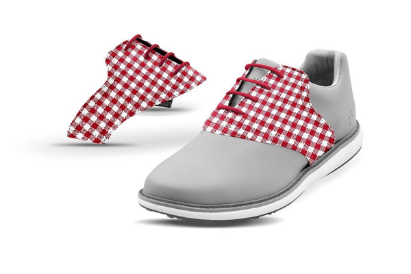 Women's Crimson Gingham Saddles On Grey Golf Shoe From Jack Grace USA