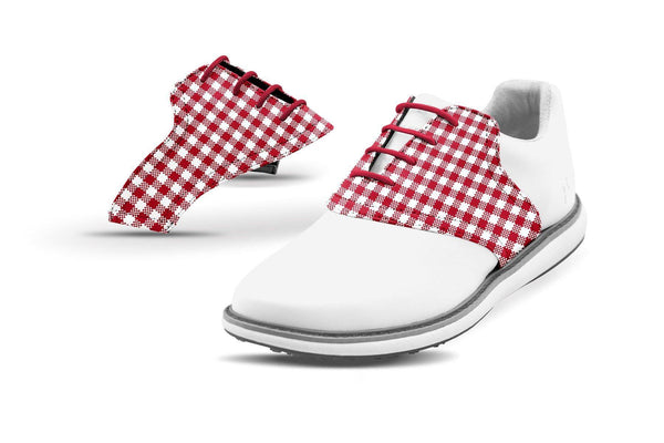 Women's Crimson Gingham Saddles On White Golf Shoe From Jack Grace USA