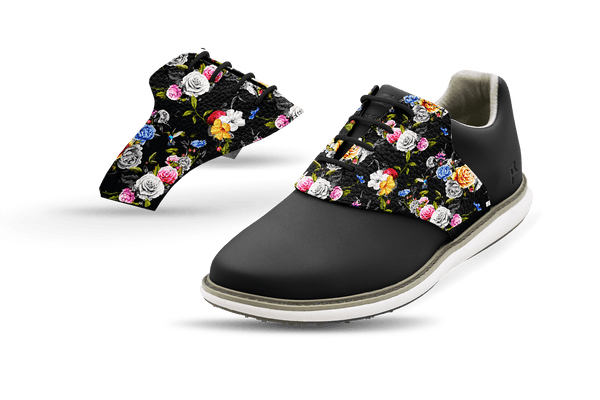 Women's Dark Roses Saddles On Black Golf Shoe From Jack Grace USA
