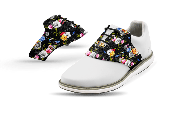 Women's Dark Roses Saddles On White Golf Shoe From Jack Grace USA