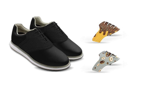 Women's Food Bundle Saddles On Black Golf Shoe From Jack Grace USA