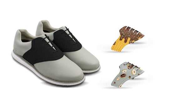 Women's Food Bundle Saddles On Grey Golf Shoe From Jack Grace USA