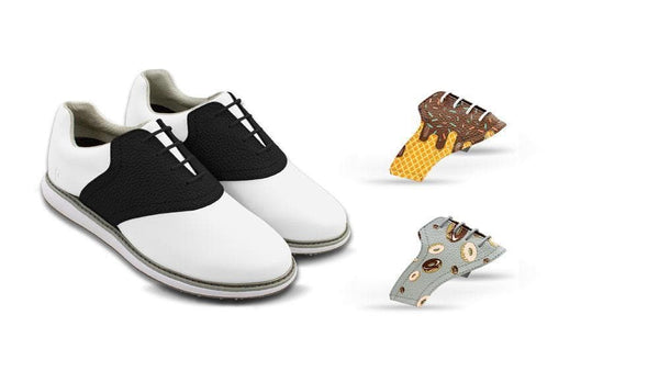Women's Food Bundle Saddles On White Golf Shoe From Jack Grace USA