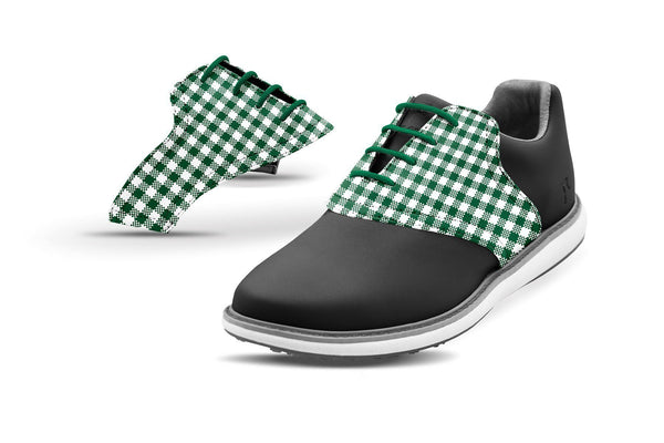 Women's Forest Green Gingham Saddles On Black Golf Shoe From Jack Grace USA