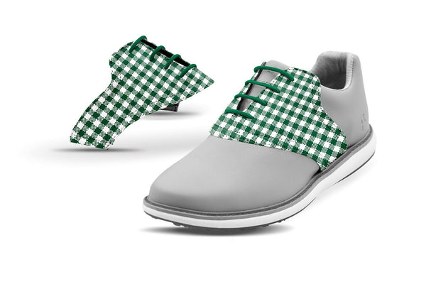 Women's Forest Green Gingham Saddles On Grey Golf Shoe From Jack Grace USA