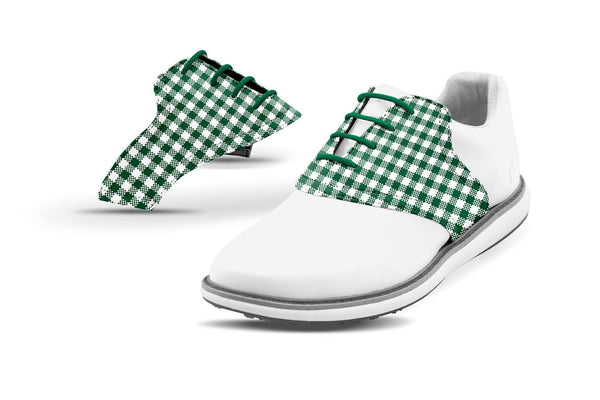 Women's Forest Green Gingham Saddles On White Golf Shoe From Jack Grace USA