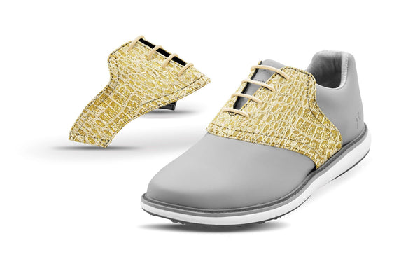 Women's Gold Crocodile Saddles On Grey Shoe From Jack Grace USA