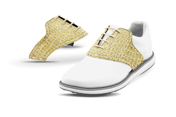 Women's Gold Crocodile Saddles On White Shoe From Jack Grace USA