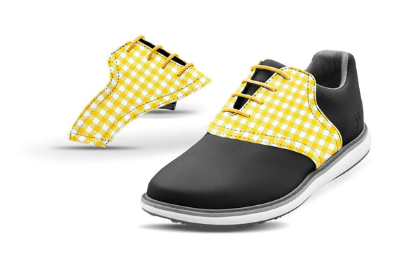 Women's Gold Gingham Saddles On Black Golf Shoe From Jack Grace USA