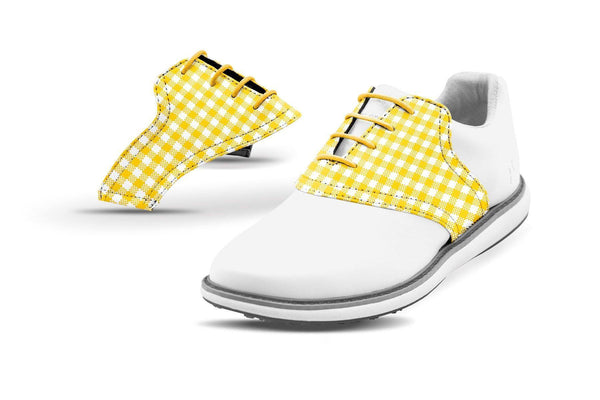 Women's Gold Gingham Saddles On White Golf Shoe From Jack Grace USA