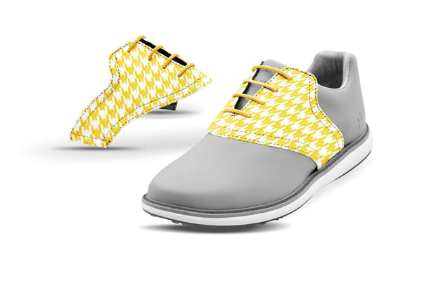 Women's Houndstooth Gold Saddles On Grey Golf Shoe From Jack Grace USA