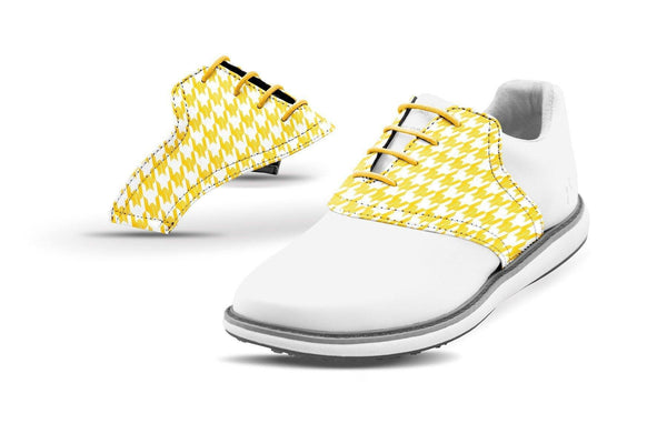 Women's Houndstooth Gold Saddles On White Golf Shoe From Jack Grace USA