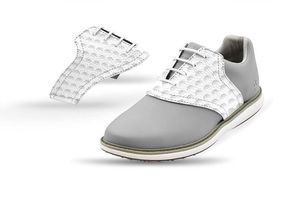 Women's Golf Dimple Saddles On Grey Golf Shoe From Jack Grace USA