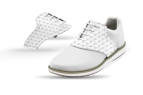 Women's Golf Dimple Saddles On White Golf Shoe From Jack Grace USA