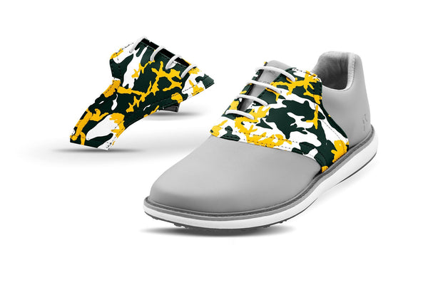 Women's Green Bay Pro Football Camo Saddles On Grey Golf Shoe From Jack Grace USA