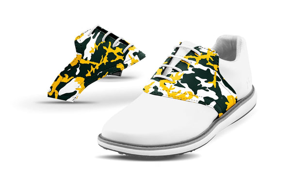 Women's Green Bay Pro Football Camo Saddles On White Golf Shoe From Jack Grace USA