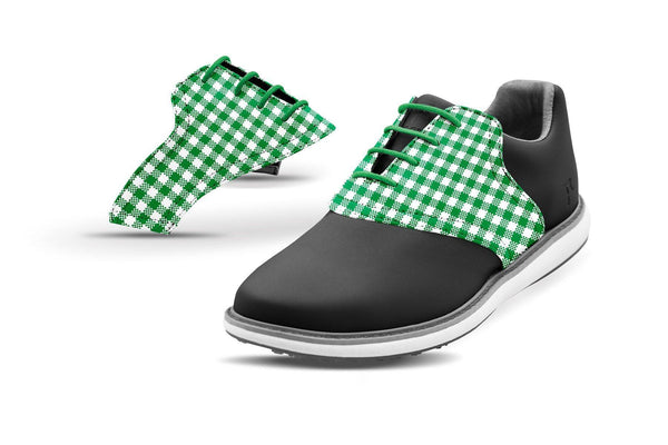 Women's Green Gingham Saddles On Black Golf Shoe From Jack Grace USA