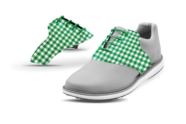 Women's Green Gingham Saddles On Grey Golf Shoe From Jack Grace USA