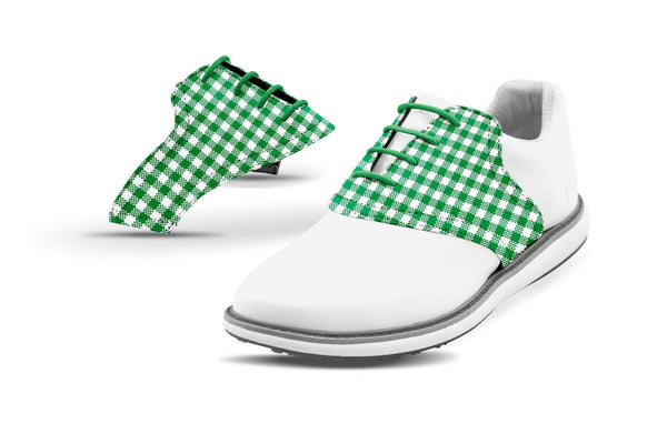 Women's Green Gingham Saddles On White Golf Shoe From Jack Grace USA