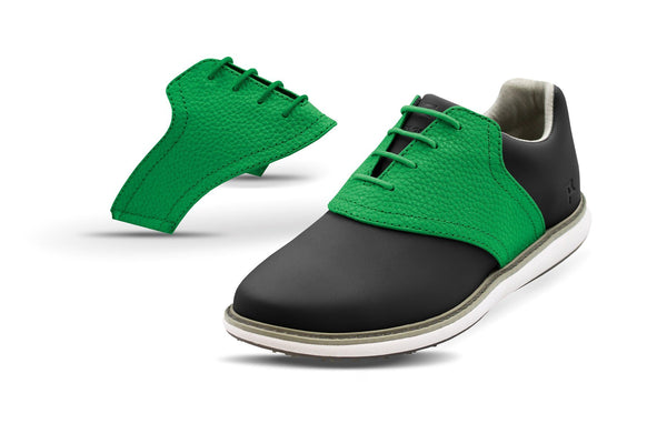 Women's Green Pebble Saddles On Black Golf Shoe From Jack Grace USA