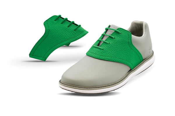 Women's Green Pebble Saddles On Grey Golf Shoe From Jack Grace USA