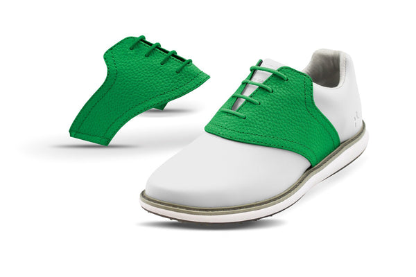 Women's Green Pebble Saddles On White Golf Shoe From Jack Grace USA
