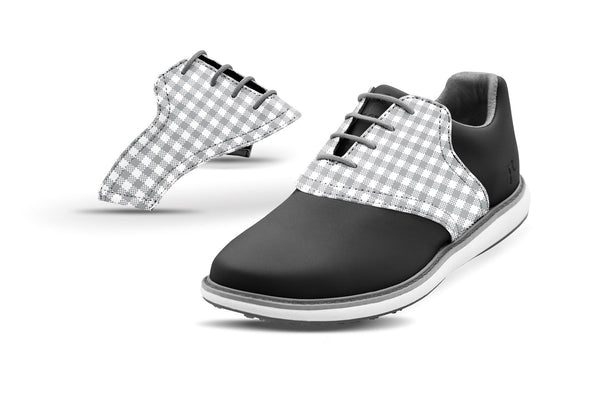 Women's Grey Gingham Saddles On Black Golf Shoe From Jack Grace USA