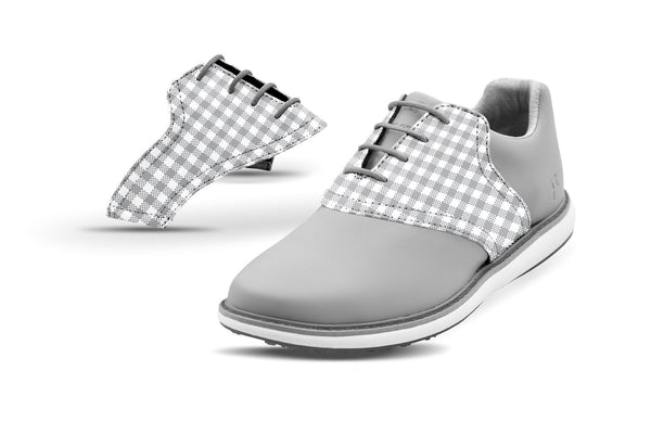 Women's Grey Gingham Saddles On Grey Golf Shoe From Jack Grace USA