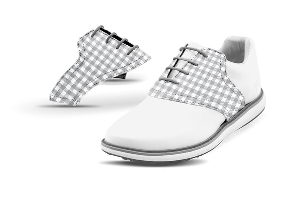 Women's White Gingham Saddles On Black Golf Shoe From Jack Grace USA