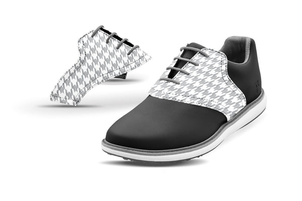 Women's Houndstooth Grey Saddles On Black Golf Shoe From Jack Grace USA