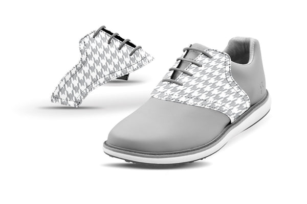 Women's Houndstooth Grey Saddles On Grey Golf Shoe From Jack Grace USA