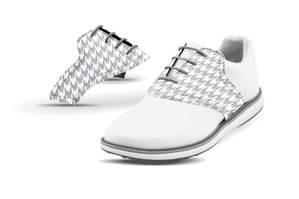 Women's Houndstooth Grey Saddles On White Golf Shoe From Jack Grace USA