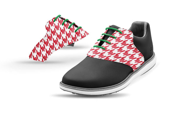 Women's Houndstooth Red Forest Laces Saddles On Black Golf Shoe From Jack Grace USA